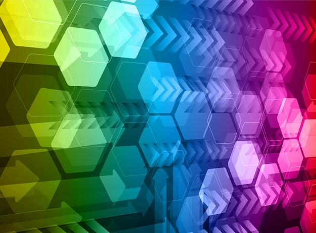 Fond de concept technologique futur bleu cyber hexagone rouge