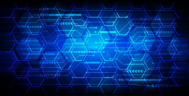 Fond de concept technologique futur hexagone bleu cyber circuit