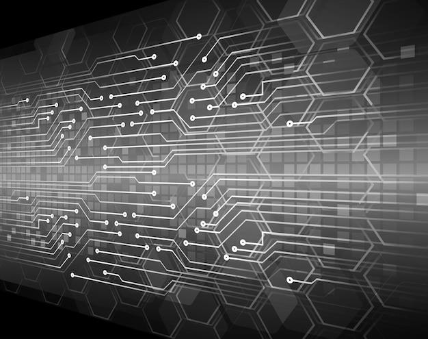 Fond de concept technologique futur hexagone noir cyber circuit