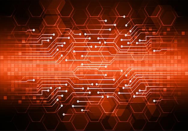 Fond de concept technologique futur hexagone orange cyber circuit