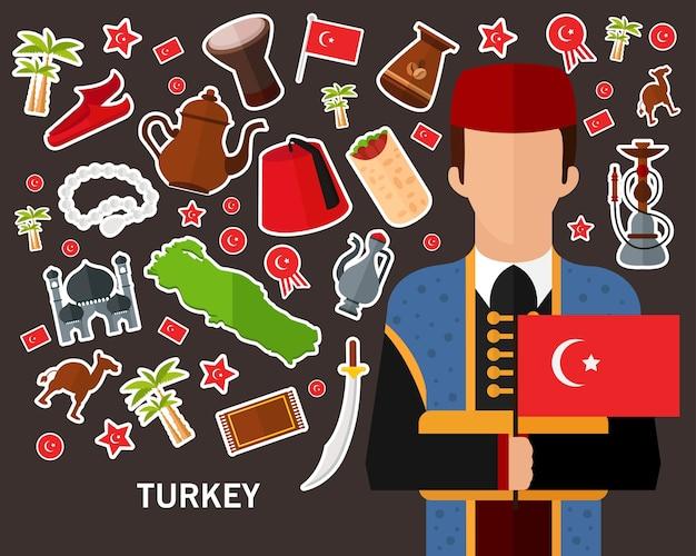 Fond de concept turquie. icônes plates
