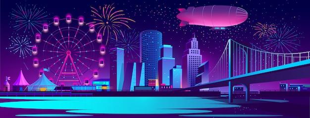 Fond de concept avec la ville de nuit