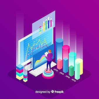 Fond de concept de visualisation de données isométrique