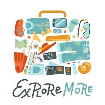 Le fond de concept de voyage de valise d'emballage de forme de sac se composait de choses de voyage. illustration plate pour la conception web