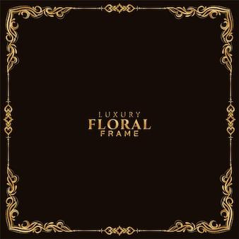Fond de conception de cadre floral doré élégant