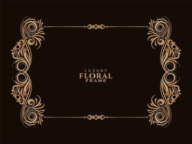 Fond de conception de cadre floral doré ornemental