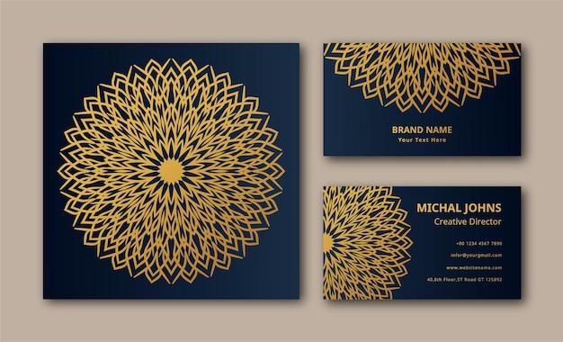 Fond de conception de carte de visite de luxe mandala