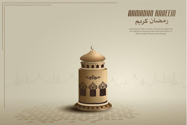 Fond de conception de carte de voeux islamique avec lanterne d'or