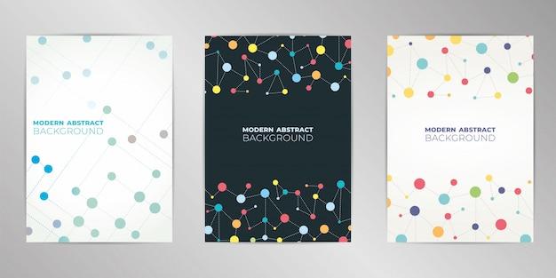 Fond de conception de couverture moléculaire moderne défini au format a4.