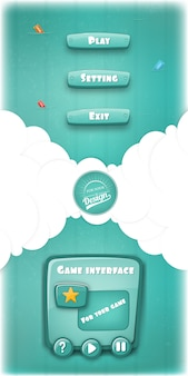 Fond de conception drôle d'interface de jeu de dessin animé.
