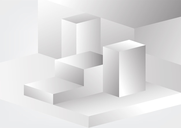 Fond de conception d'entreprise géométrique abstrait tech gris et blanc