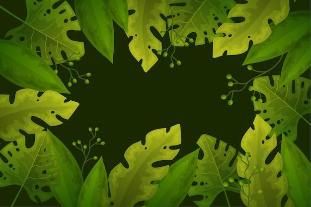 Fond avec conception de feuilles tropicales