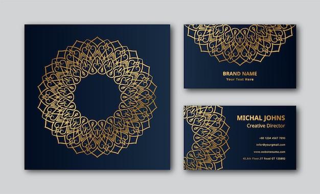 Fond de conception de mandala de carte de visite ornementale de luxe