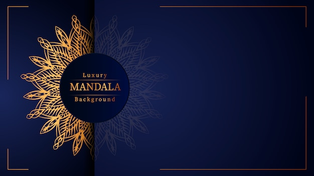 Fond de conception de mandala ornemental de luxe en couleur or, fond de mandala de luxe pour invitation de mariage, couverture de livre