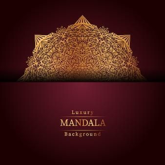 Fond de conception de mandala ornemental de luxe en couleur or,