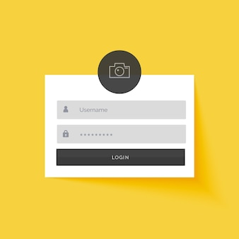 Fond de conception de modèle de formulaire de connexion jaune