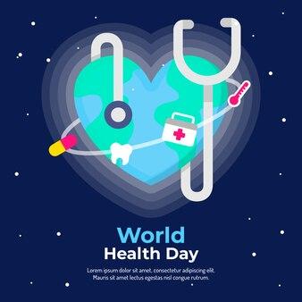 Fond de conception plate pour la journée mondiale de la santé