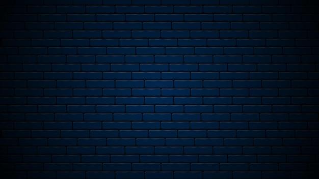Fond de conception réaliste de mur de briques nocturnes bleu foncé