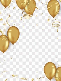 Fond de confettis et ballons or illustrations vectorielles