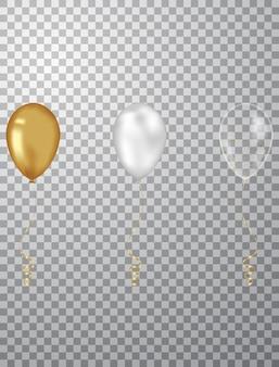 Fond de confettis et ballons d'or illustrations vectorielles
