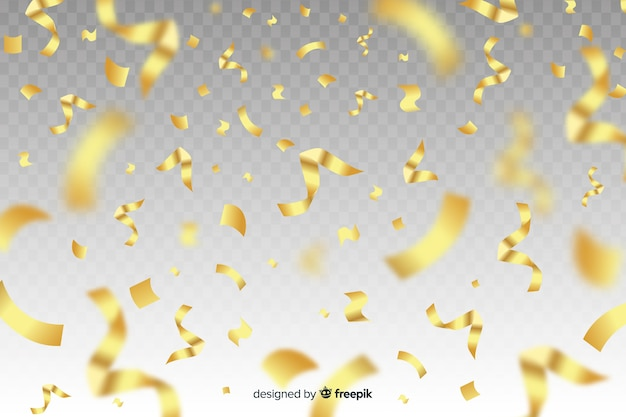 Fond de confettis doré réaliste