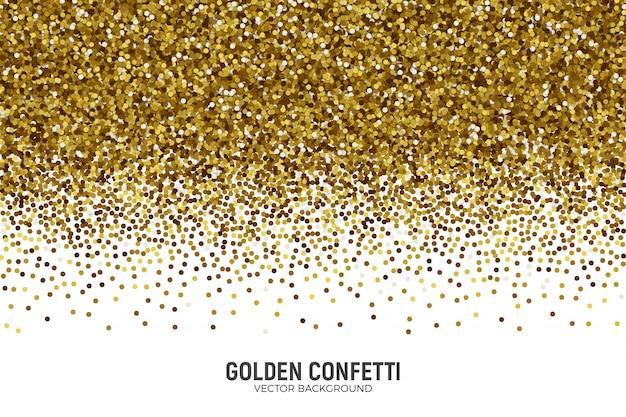 Fond de confettis dorés épars