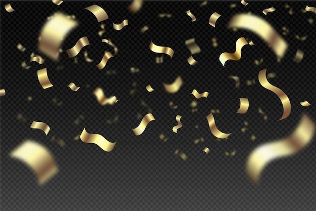 Fond de confettis dorés réalistes