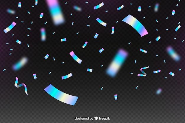 Fond de confettis holographiques réalistes