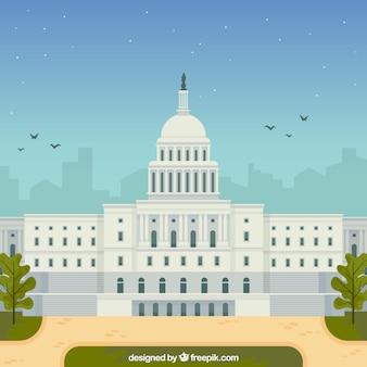 Fond de congrès des états-unis dans le style plat
