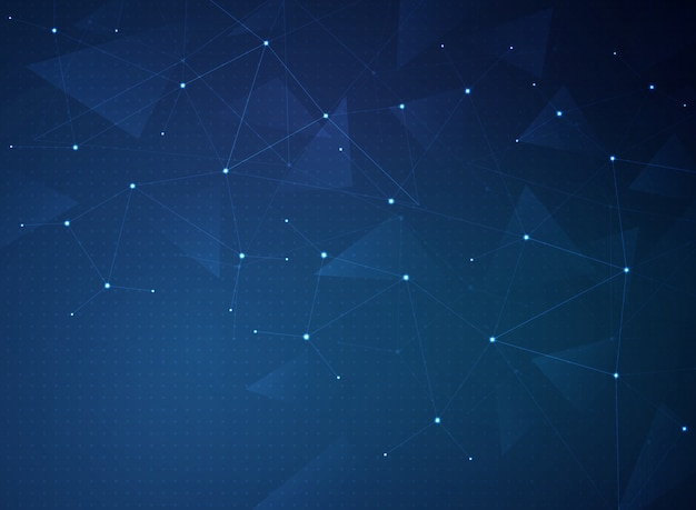 Fond de connexion abstraite technologie bleu futuriste dégradé.