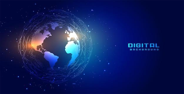 Fond de connexion réseau mondial technologie terre