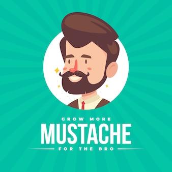 Fond de conscience movember moustache au design plat