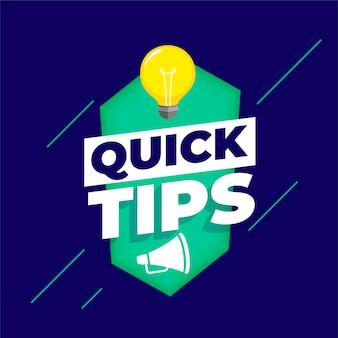 Fond de conseils rapides avec ampoule et mégaphone
