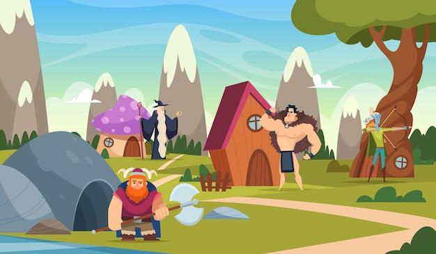Fond de conte de fées. la bande dessinée drôle abrite un beau monde fantastique avec des châteaux de créatures vector illustration de paysage de dessin animé. conte de fées drôle, maison de champignon d'imagination