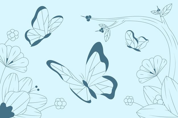 Fond de contour linéaire papillon plat