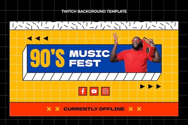 Fond de contraction du festival de musique nostalgique plat des années 90