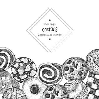 Fond de cookies illustration vintage en noir et blanc. élément de vecteur sucré et cuit au four.