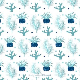 Fond de corail bleu dessiné à la main