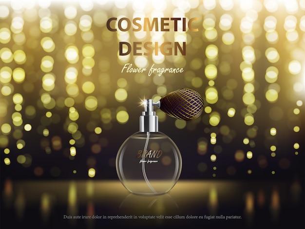 Fond cosmétique avec une bouteille ronde avec parfum