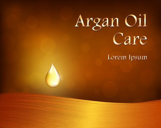 Fond de cosmétiques avec une goutte d'huile d'argan, cheveux.