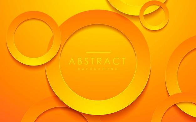 Fond de couche 3d orange papercut de cercle