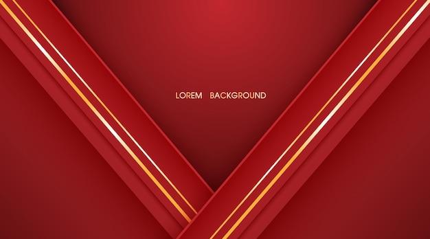 Fond de couche abstraite rouge et lignes dorées