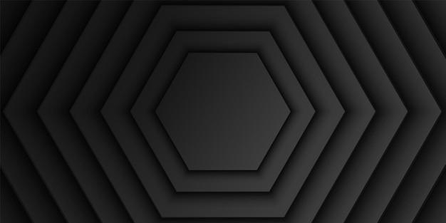 Fond de couche de chevauchement hexagonal noir abstrait motif de forme hexagonale design minimaliste sombre