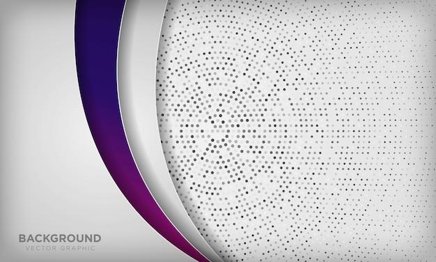 Fond de couche de dimension abstraite blanche avec dégradé violet coloré et demi-teinte radiale de cercle.