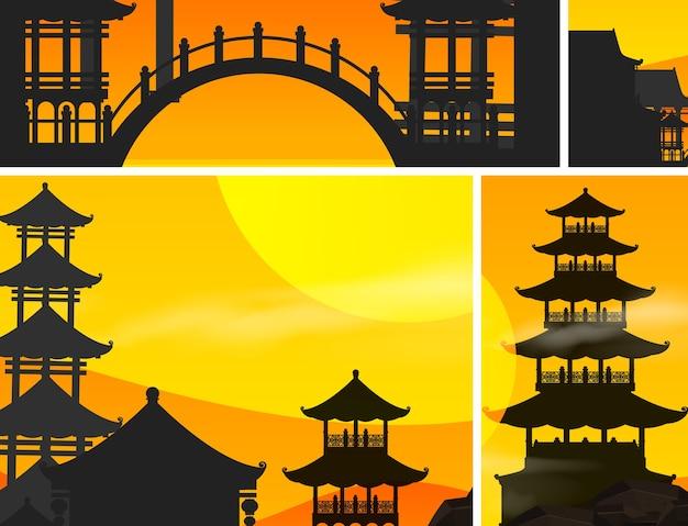 Fond de coucher de soleil chinois