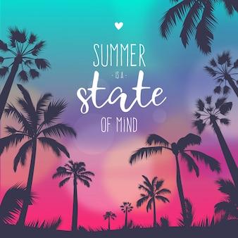 Fond de coucher de soleil coloré de l'été avec citation