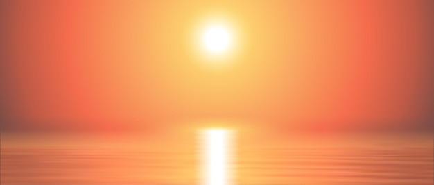 Fond de coucher de soleil sur la mer calme et clair. paysage panoramique marin