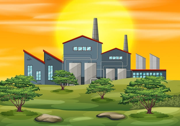 Un fond de coucher de soleil d'usine