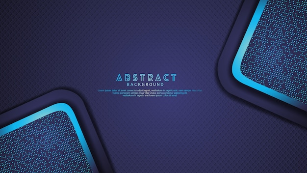 Fond de couches de chevauchement bleu foncé futuriste et dynamique avec effet de paillettes. motif de formes diagonales réalistes sur fond sombre texturé