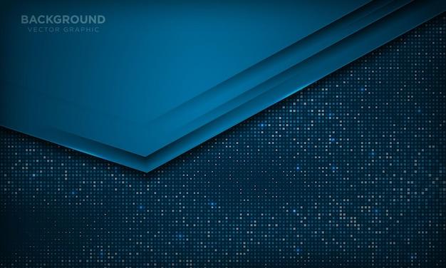 Fond de couches de chevauchement de luxe bleu abstrait style de papier moderne avec effet scintillant